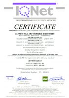 گواهینامه استاندارد ایزو 9001 شرکت کاشی و سرامیک الوند