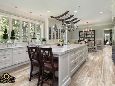 ایده های مبلمان با سرامیک پرسلان - میز آشپزخانه - طرح جزیره - میز کانتر