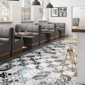 سرامیک لوکس دیزاین 30 در 30 سرامیک چیتا البرز سفید - مشکی - دکور